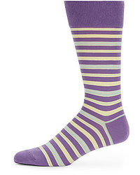 Violet Horizontal Striped Socks