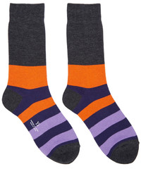 Y's Grey Striped Border Socks