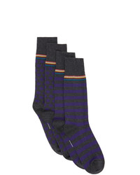 Paul Smith Two Pack Grey And Purple Stripes And Dots Socks