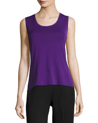 Ming Wang Scoop Neck Stretch Knit Tank