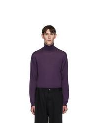 Lanvin Purple Shoulder Contrast Turtleneck