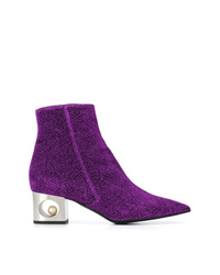 Coliac Contrast Heel Ankle Boots