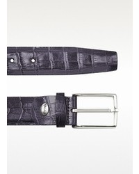 Manieri Violet Croco Stamped Leather Belt
