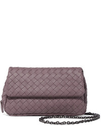 Bottega Veneta Messenger Mini Intrecciato Leather Shoulder Bag Purple