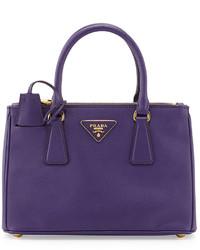 Prada Saffiano Double Zip Mini Crossbody Violet