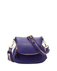 Tom Ford Jennifer Medium Leather Crossbody Bag Purple