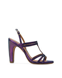 Violet Leather Heeled Sandals