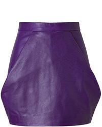 Leather skirt in violet medium 101621