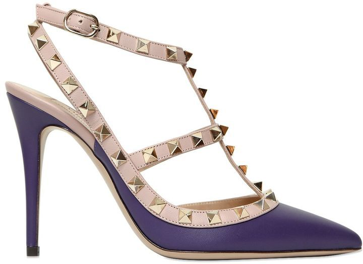 33c00446ca07 Women s Fashion › Shoes › Pumps › LUISAVIAROMA › Valentino › Violet Leather  Pumps Valentino 100mm Rockstud Leather Pumps ...