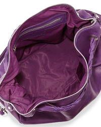 Neiman Marcus Made In Italy Leather Slouchy Satchel Bag Purple Eggplant