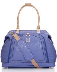 Violet Leather Tote Bag