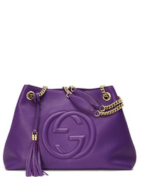 Gucci Soho Medium Leather Tote Bag Purple