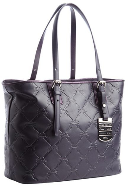 e582bc2ec87d ... Longchamp Violet Leather Lm Cuir Tote With Pouchette