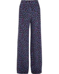 Vanessa Seward Emmanuelle Leopard Print Silk Crepe De Chine Wide Leg Pants Purple