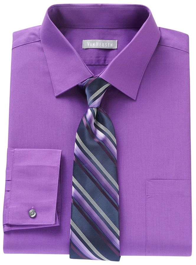 Attractive Van Heusen Fitted Dress Shirt Striped Tie Boxed Set | Where to buy  GC47