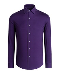 Bugatchi Ooohcotton Regular Fit Tech Knit Button Up Shirt