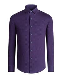 Bugatchi Ooohcotton Tech Print Knit Button Up Shirt