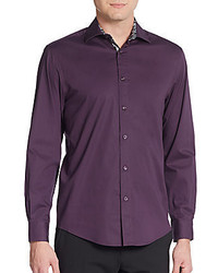 Saks Fifth Avenue Regular Fit Contrast Cuff Cotton Sportshirt