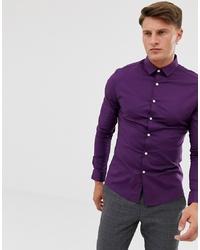 ASOS DESIGN Skinny Shirt In Berry