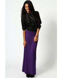 Boohoo Helen Jersey Contrast Waistband Maxi Skirt