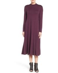 Eileen Fisher Lightweight Jersey Mock Neck Midi Dress
