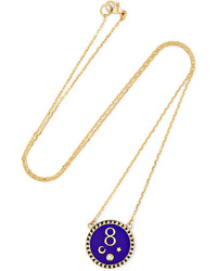 Foundrae Karma 18 Karat Gold Diamond And Enamel Necklace