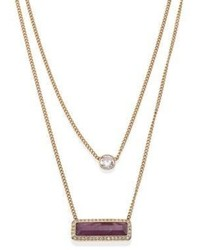 Michael Kors Michl Kors Urban Rush Amethyst Crystal Double Chain Necklace