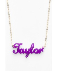 Moon and Lola Script Font Personalized Nameplate Pendant Necklace