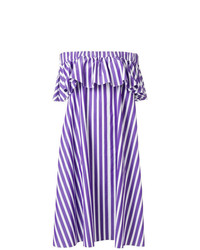 Maison Rabih Kayrouz Off Shoulder Striped Dress
