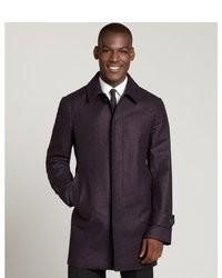 Canali Violet Wool Three Quarter Overcoat