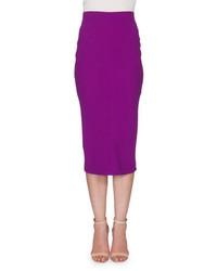 Victoria Beckham High Waist Midi Pencil Skirt Plum
