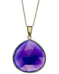 10k Gold Necklace Pear Cut Purple Chalcedony Pendant