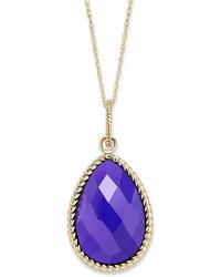 14k Gold Necklace Faceted Purple Agate Pear Pendant