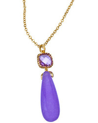 Alvina Abramova Gold Rose And Violet Teardrop Madison Pendant Necklace