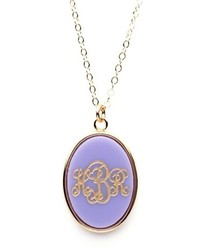 Moon and Lola Acrylic Vineyard Oval Monogram Pendant On Apex Chain