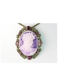 Alilang Purple Profile Cameo Lady Crystal Rhinestone Fashion Custom Pendant Necklace