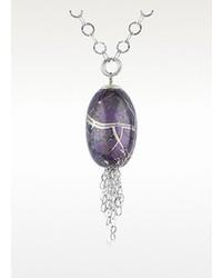 Forzieri Naoto Alchimia Sterling Silver Oval Pendant Necklace