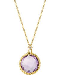 Roberto Coin Ipanema 18k Round Amethyst Diamond Pendant Necklace