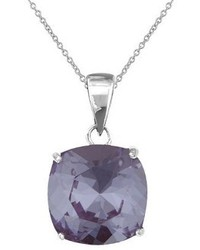 Silver Plated Violet Crystal Cushion Round Pendant 12mm