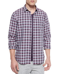 Vince Melange Plaid Sport Shirt Plum
