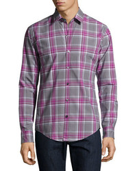 BOSS Plaid Cotton Sport Shirt Dark Purple