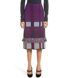St. John Collection Plaid Jacquard Knit Skirt
