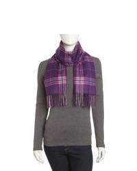 Neiman marcus cashmere plaid scarf plum medium 876547