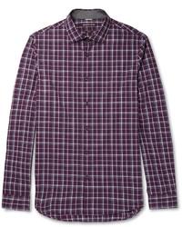 Michael Kors Michl Kors Slim Fit Checked Cotton Poplin Shirt
