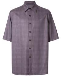 Violet Plaid Short Sleeve Shirt