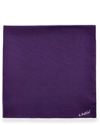 Lanvin Four Color Reversible Pocket Square Purple