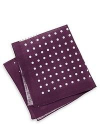 Hugo Boss Pocket Square Linen Print Dark Purple