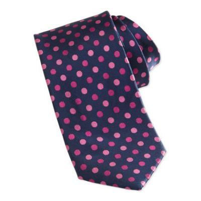 Burma Bibas Polka Dot Skinny Silk Tie Pink