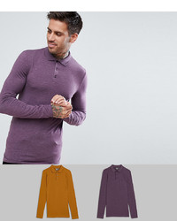 ASOS DESIGN Muscle Fit Jersey Long Sleeve Polo 2 Pack Save