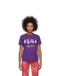 MSGM Purple Artist Logo T Shirt